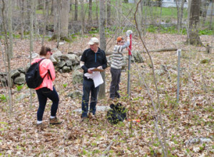 Rachel and Rob marking the Bontatibus Preserve boundary with Larry Wheeler