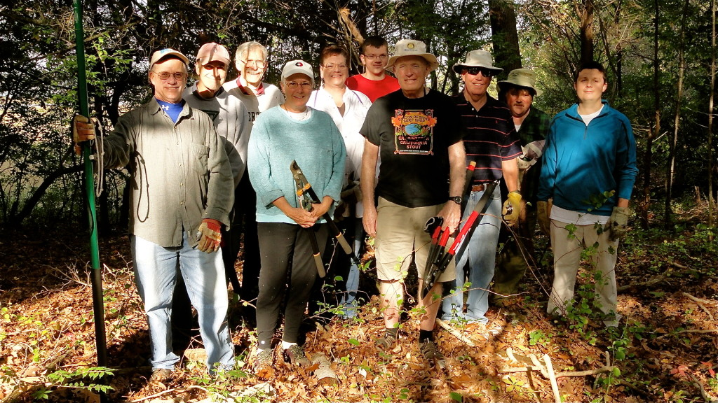 Sybil Creek Preserve work party: left to right, Matt Reed, Bill Leece, Bill Horne, Kitty Ing, Deb Bodner, Jonathan Bodner, Mike Ball, Stu Tillinghast, Paul Bodner, Logan Reed; not shown, Alpha Coiro, Pete Craig.