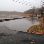 November 2014 nor'easter storm surge floods Jarvis Creek marsh and Leetes Island Road
