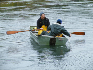 Protecting Natural Resources: CT Institute for Resilience and Climate Adaptation scientists Kay Howard-Strobel and David Cohen deploy water depth and velocity instruments in Jarvis Creek.